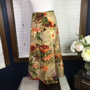 Talbots Silk Floral Fluted Skirt Size 8